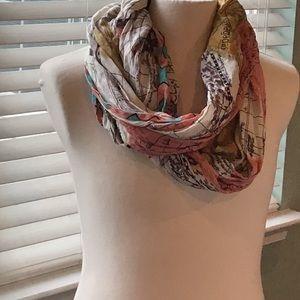 BDG infinity scarf antique map print-VGUC